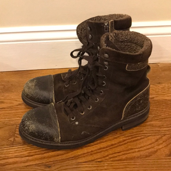 7dc3f5f4307 Diesel Men's Brown Suede Leather Combat Boots 44
